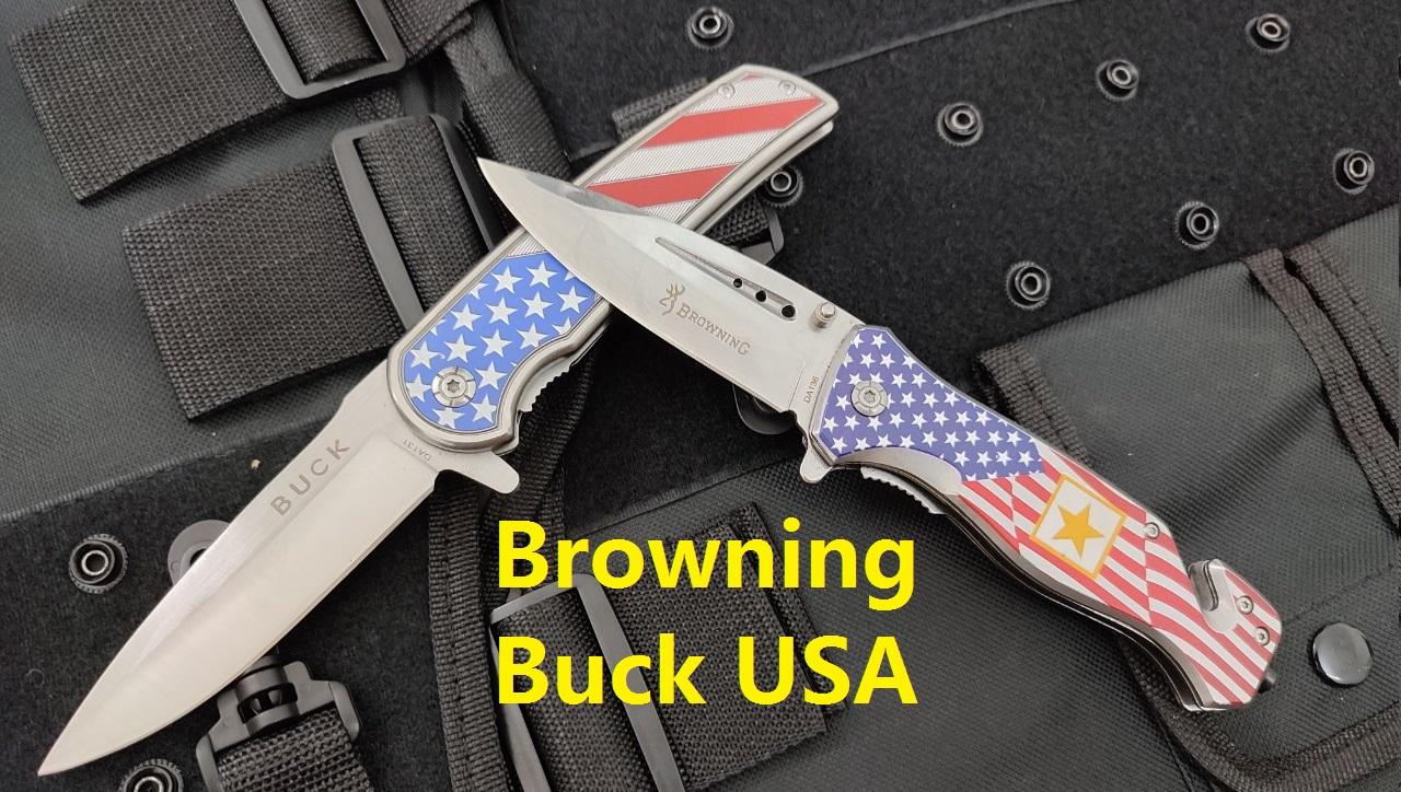 dao xếp Browning Buck USA lá cờ đẹp